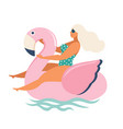 flamingo unicorn swan inflatable swimming pool vector image vector image