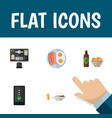 flat icon lifestyle set of bureau beer with chips vector image vector image