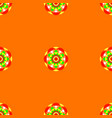 flower mandala seamless pattern orange vector image vector image
