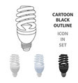 fluorescent lightbulb icon in cartoon style vector image vector image