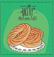 french dessert paris-brest in cartoon style vector image