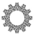 gearwheel mosaic of religious cross icons vector image vector image