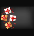 gift boxes with red bow realistic dark vector image