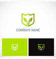 green leaf shield environment logo vector image