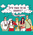 group happy tourists vacation sky plain and sign vector image