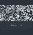 hand drawn pizza pasta ravioli and ingredients vector image vector image