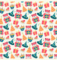 happy birthday pattern with bear in vector image vector image