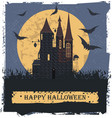 happy halloween card with stylis witch castle vector image vector image