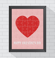 Heart puzzle valentine in frame vector image vector image