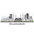 islamabad pakistan city skyline with gray vector image vector image