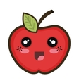 kawaii cartoon apple vector image vector image