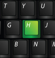 keyboard with green h sign vector image vector image