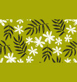 leaves and flowers monochrome pattern vector image