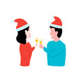 man and woman celebrate new year with glasses vector image vector image