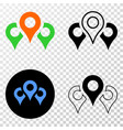 map markers eps icon with contour version vector image vector image