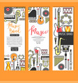 music band concert musical instruments banners vector image