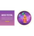 music festival purple banner with musical notes vector image vector image