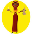 muslim woman holding an arabic coffee pot vector image vector image