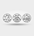 nature vacation camping set icons logos vector image vector image