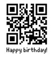 qr code sample with text happy birthday vector image vector image
