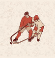 retro hockey player and seamless pattern vector image vector image