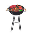 roaster grill with meal set vector image