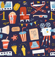 seamless pattern with flat movie icons on dark vector image