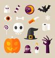 set halloween and decorative elements pumpkin vector image