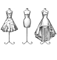 set mannequins in dresses vector image vector image