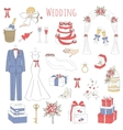 set of hand drawn wedding icons vector image vector image
