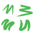 set of hand painted brush strokes green vector image