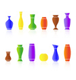 set silhouettes vases vector image
