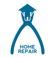 silhouette of a pliers holding a house and text vector image