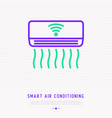 smart air conditioning thin line icon vector image