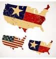 Vintage Map USA made of a flag United States vector image