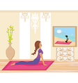 Young woman practicing yoga indoors vector image vector image
