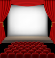 Cinema auditorium with red seats and curtains vector image