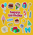 happy birthday party decoration doodle vector image