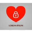 Red heart with lock logotype icon love vector image