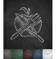 apple Knife Fork icon Hand drawn vector image