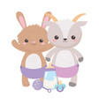 baby shower cute rabbit goat with pacifier rattle