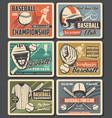 baseball sport equipment vintage cards vector image vector image