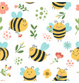 bees seamless pattern cute hand drawn honey bees vector image