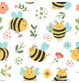 bees seamless pattern cute hand drawn honey vector image vector image