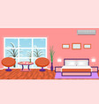 bright bedroom interior with modern furniture and vector image vector image