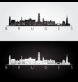 bruges skyline and landmarks silhouette vector image vector image