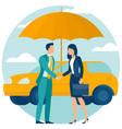 car insurance umbrella covering vector image