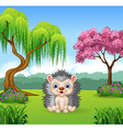 Cartoon funny hedgehog sitting in the jungle vector image vector image