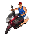 cartoon man in a helmet on a scooter vector image vector image