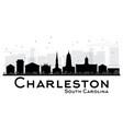 charleston south carolina city skyline black and vector image vector image